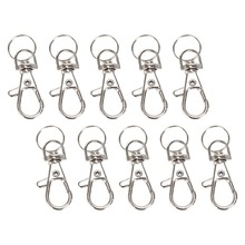 Metal Swivel Lobster Clasp Clips Key Hooks chain Split Ring DIY Bag Jewelry Classic Chain Silver