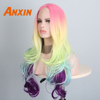 Anxin Long water Wave Wig Rainbow Color For Girls Anime Cosplay Synthetic wig