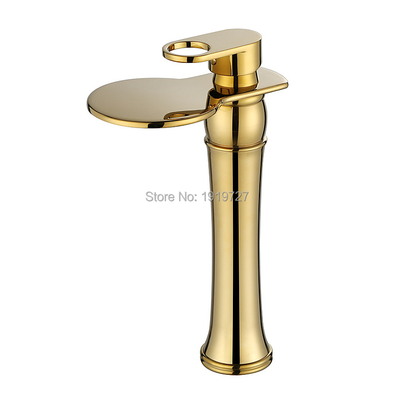 100% Luxury Style Waterfall Spout Faucet Wels Vessel Sink Mixer Tap 2016 Factory Direct Lead Free Copper Golden led spout swivel spout kitchen faucet vessel sink mixer tap chrome finish solid brass free shipping hot sale