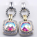 New Rose Rainbow Mystic Simulated Topaz Woman 925 Sterling Silver Crystal Earrings TE356