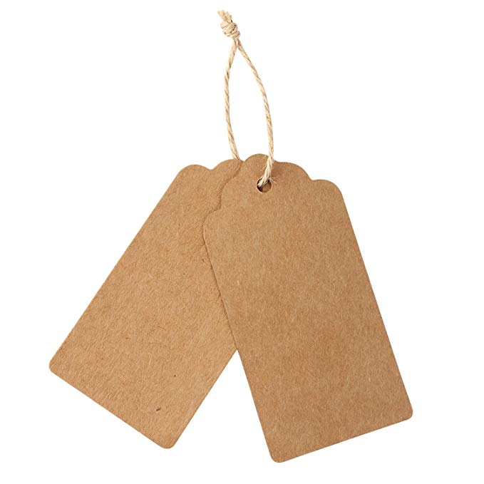 Купить с кэшбэком 300pcs brown Kraft paper tags for wedding or party decoration gift tags and Packaging Hang Tags is customized DIY labels