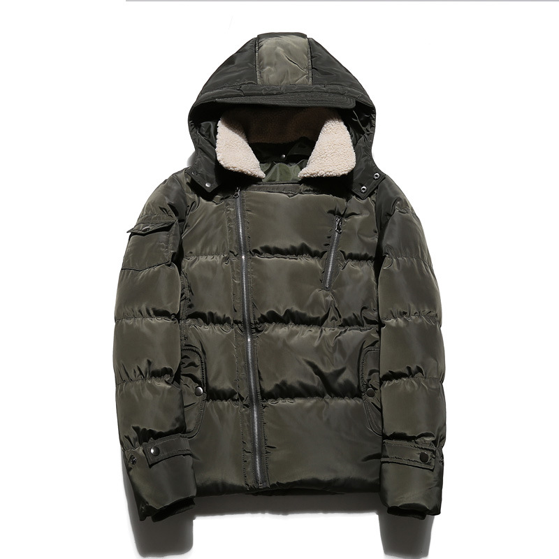 ФОТО Thick Warm Hooded Mens Winter Coat Army Green Dark Blue Colors Casaco Masculino Inverno