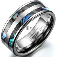 High Polish Tungsten Carbide Ring Set With Double Abalone Inlay For Anniversary Engagement Wedding Bands Couple