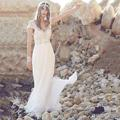 Stunning Cap Sleeves Crystal Chiffon Ivory Anna Campbell Wedding Dresses Beach Wedding Dress Women Bridal Gowns 2017