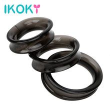 IKOKY 3pcs/Sets Elastic Penis Ring Male Masturbator Cock Ring Dildo Extender Delay Ejaculation Sex Toys for Men Adult Products