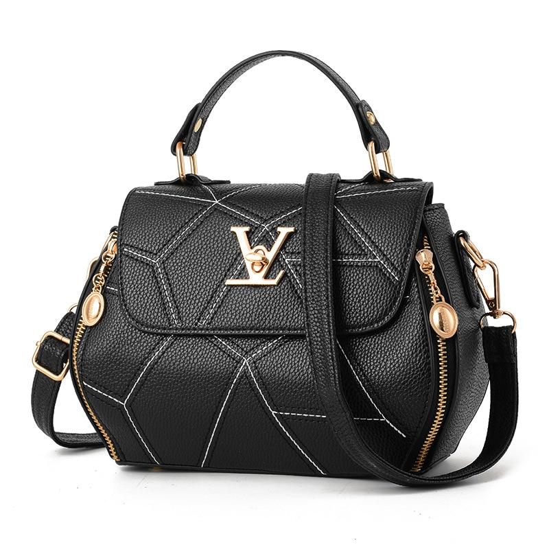 2019 New Woman Fashion V Letters Designer Handbags Luxury Quality Lady Shoulder Crossbody Bags Hot Messenger Bag(China)