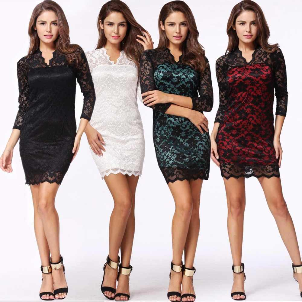 8adf7cb80ecad Elegant Ladies Office Workwear Lace Dress 2019 Autumn clubwear Women  Bodycon Dress 3/4 long sleeve Party Dresses female vestidos