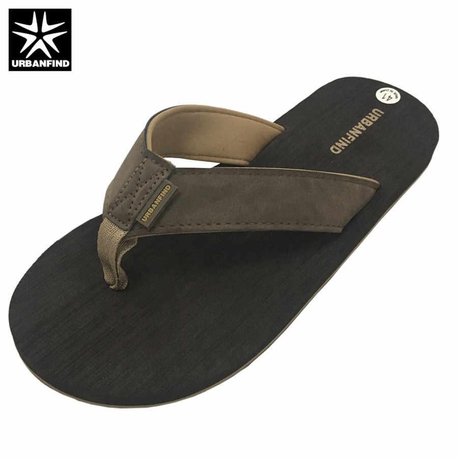 Homens Casual Chinelos Flip Flops Tamanho 41 URBANFIND-46 Fora Interior/Homem Sapatos Chinelos de Praia de Verão Marrom Preto