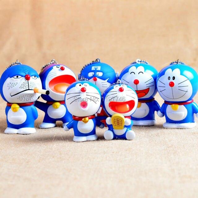 Berbagai Biru Pink Vinyl 3d Doraemon Gambar Doll Baymax Keychain 5