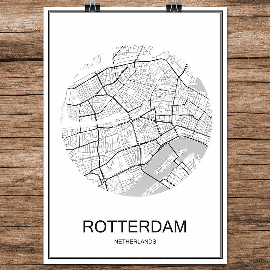 Black White World City Map of ROTTERDAM Netherlands Print Poster Coated Paper Cafe Living Room Home Decoration Wall Art Sticker