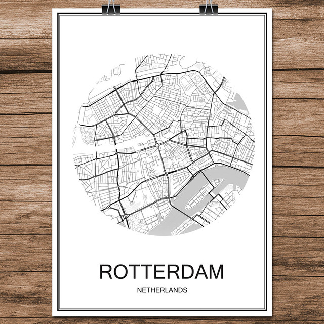 Black white world city map of rotterdam netherlands print poster black white world city map of rotterdam netherlands print poster coated paper cafe living room home gumiabroncs Gallery