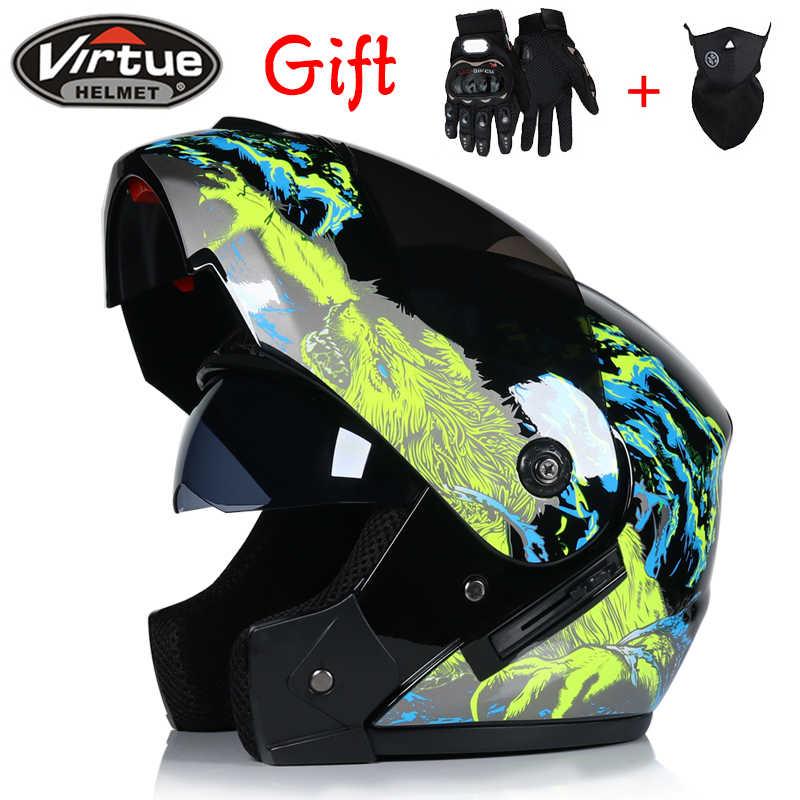 2018 New Flip Up Racing helmet Modular Dual lens Motorcycle Helmet full face Safe helmets Casco capacete casque moto
