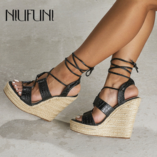 Ladies Waterproof Platform Sandals Hemp Rope NIUFUNI Women Shoes 2019 Summer High Heels Ankle Strap Wedges Party Roman Gladiator sorbern khaki women sandals rope high heels platform shoes summer style ladies work shoes wedges sandals ankle strap heels