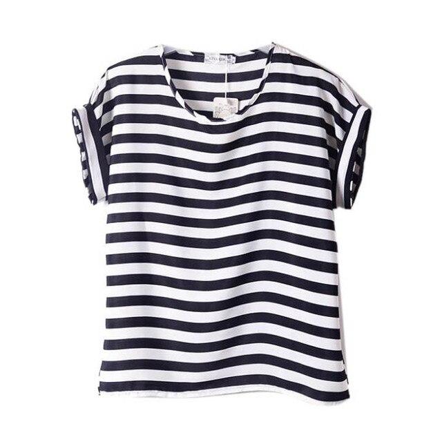 Шифон футболки дамы широкий короткие рукава рубашки полосатый в форме сердца губ топы Batwing рукавом сексуальный