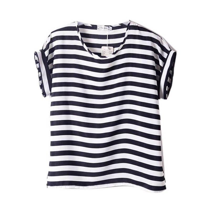 Chiffon T-Shirts Ladies Loose Short Sleeve Shirts Striped Heart Lip Tops Batwing Sleeve Sexy