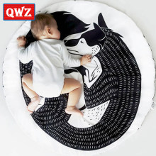 Animal Fox Play Mat Round Crawling Blanket Infant Game Pad Play Rug Floor Carpet Baby Gym Activity Room Decor Cute Baby Gifts(China)