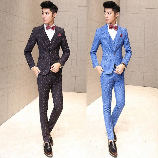 Dos homens da manta de luxo 3 peça ternos para homens ternos de casamento para homens brilhantes Vintage Jacquard mais recente calça casaco