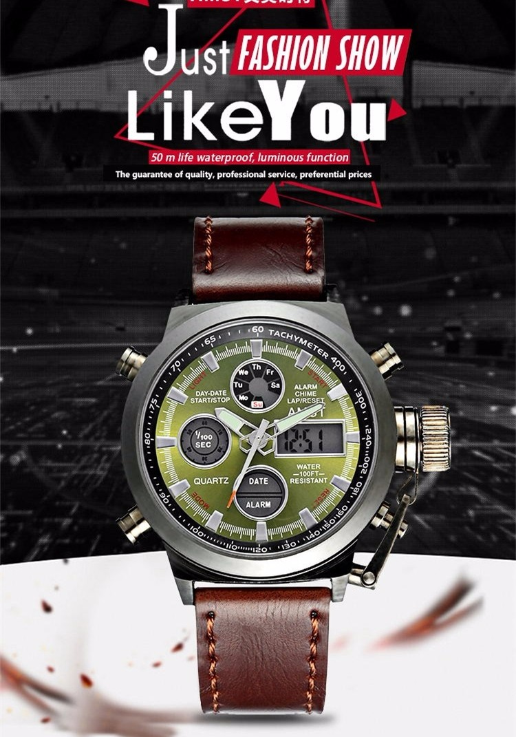 AMST Military Watches Dive 50M Nylon&Leather Strap LED Watches Men Top Brand Luxury Quartz Watch reloj hombre Relogio Masculino 3
