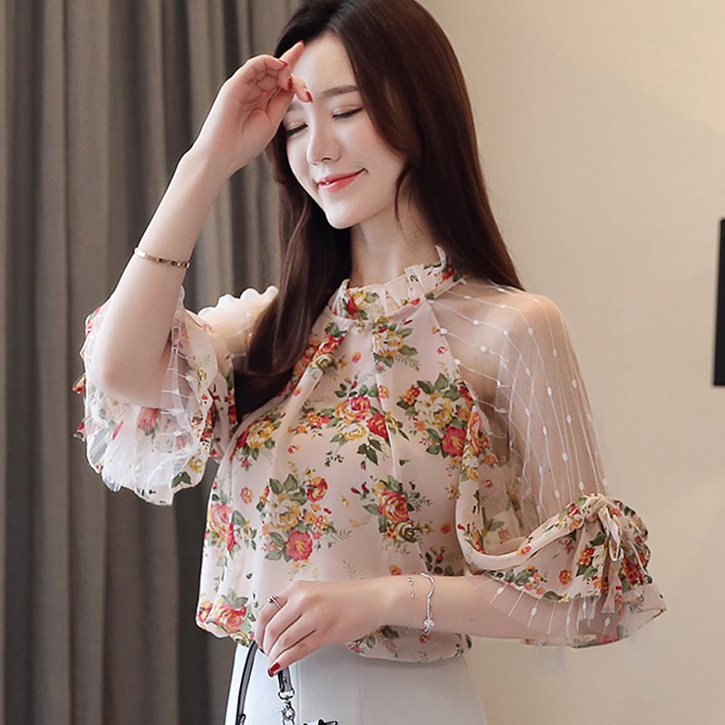 Women Sweet Sexy Shirts Summer New Lace Mesh Patchwork Chiffon Blouse Off Shoulder Bishop Sleeve Top Ladies Office Blouse