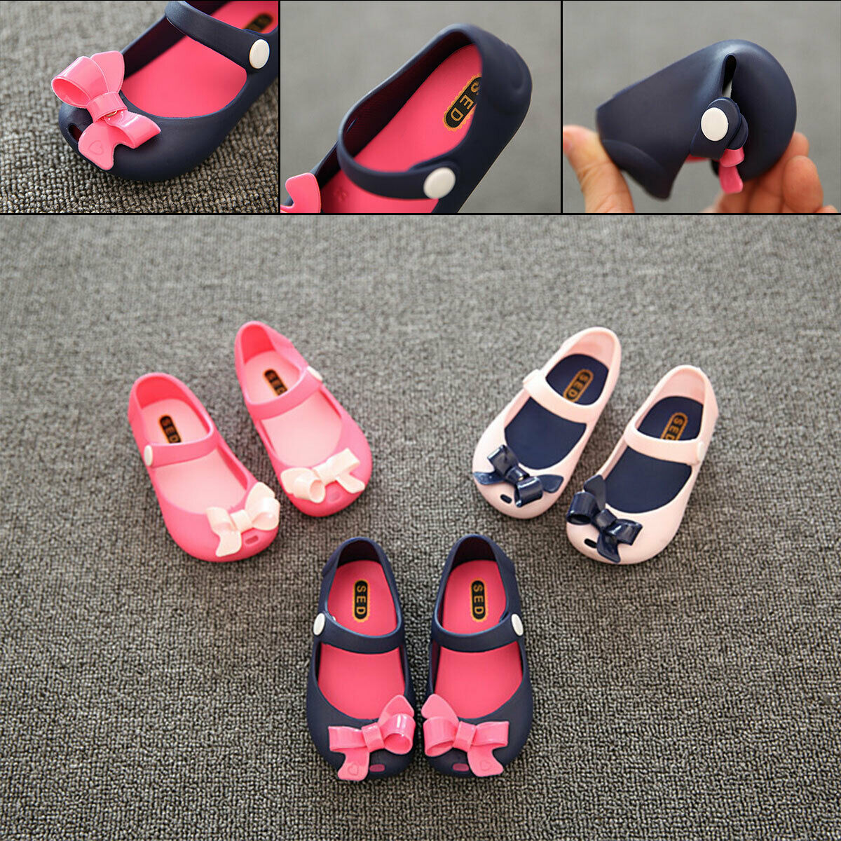 US 2019 Infant Newborn Baby Girl 0-6Y Non-Slip Plastic Flower Bow Summer Buckle Shoes