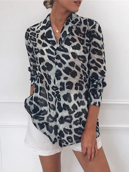 Chiffon Blouse Long Sleeve Sexy Leopard Print Blouse Turn Down Collar Lady Office Shirt Tunic Casual Loose Tops Plus Size Blusas 6