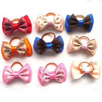Assorted Dog Bows Rubber Bands Headdress Dog Accessories