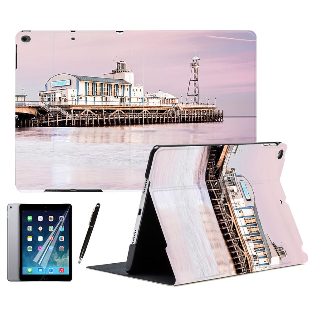 Pink Scenery Pier <font><b>Bay</b></font> Full Pattern PU Leather Stand Smart Case Cover For Apple iPad Air 1 2 <font><b>3</b></font> 9.7