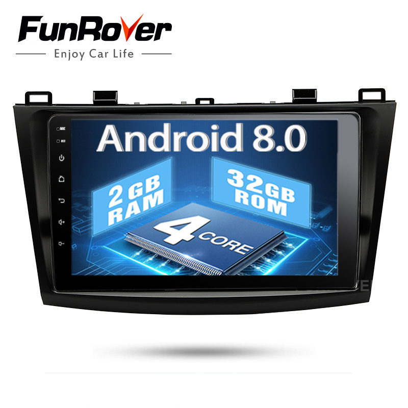 Funrover 2 din Android 8,0 dvd-плеер автомобиля Авторадио gps навигации для Mazda 3 Axela 9 дюймов bluetooth elink Wi-Fi rds usb No DVD