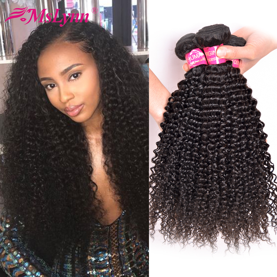 Afro Kinky Curly Hair Brasilianska Hårvävspapper Human Hair Weave Bundles 4 eller 3 Bundlar Natural Black Mslynn Non Remy Hair