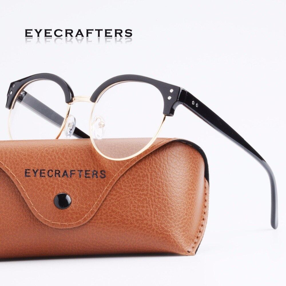Mode Schwarzen Klassischen Metall Halb Rahmen Retro Optische Brillen ...