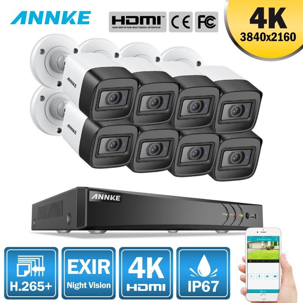 ANÃO 4 K HD Ultra Clear Filme 8CH 5MP H.265 5in1 + DVR CCTV Sistema de Segurança 8 PCS 8MP À Prova de Intempéries EXIR câmera de Visão Noturna ao ar livre