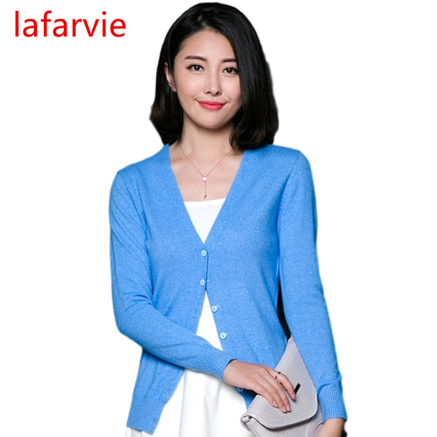 Lafarvie Wanita Autumn Winter Cashmere Blend Sweater V-Neck Cardigan Jumper Lengan Panjang Wanita Sweater dikait 9 Warna S-XXXL