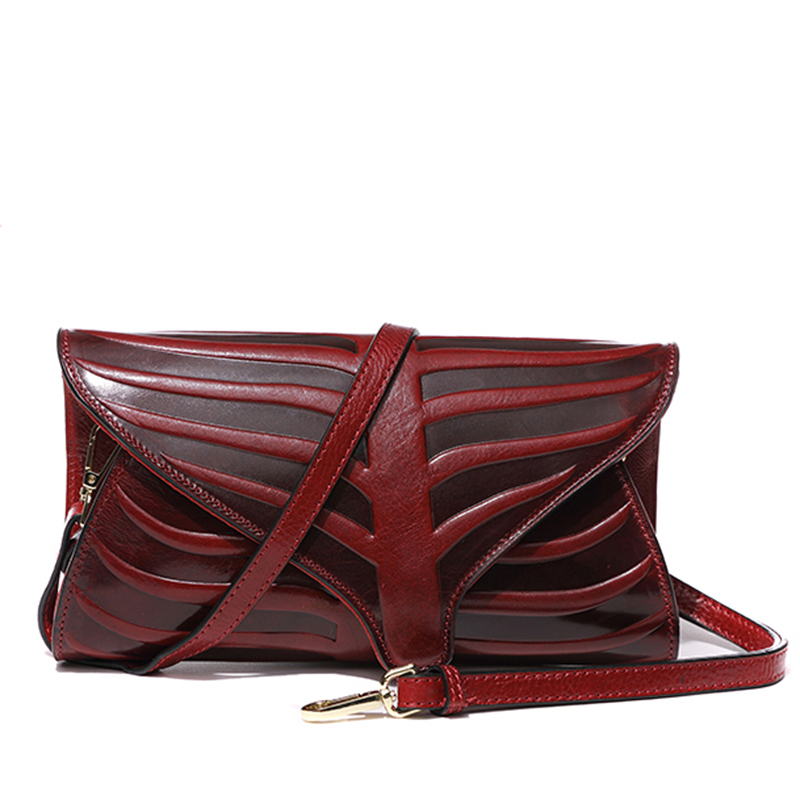 Famous Brand Roll Banana Leaf Design Vintage Lady Clutch Wallet High Capacity Purse Shoulder Evening Bag Genuine Leather Handbag vintage serpentine genuine leather woman clutches evening bag crossbody chain shoulder bag handbag clutch wallet lady long purse