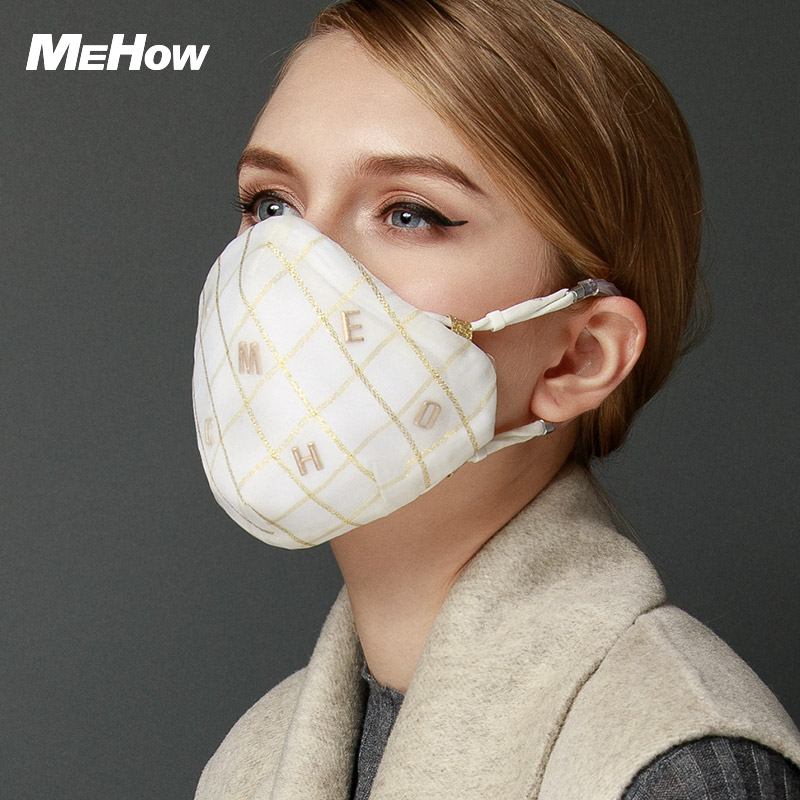 MeHow Gold Lozenge pattern Mouth Mask Women Spinning cloth PM2.5 Anti Haze Dust Mask Nose Filter Beauty Health Care Mouth-muffle 50pcs high quality dust fog haze oversized breathing valve loop tape anti dust face surgical masks