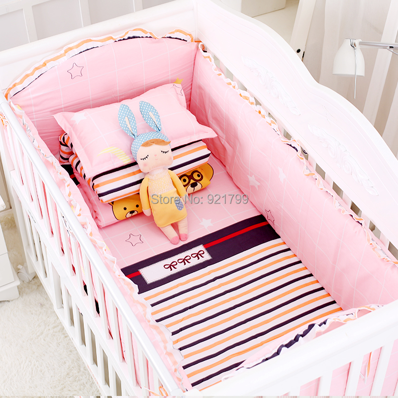 100%Cotton Baby Crib Bumpers Bedding Cartoon Pink Bear Beddinng Bed Safety Fence Sheets Thickening Babies Bumper 5678