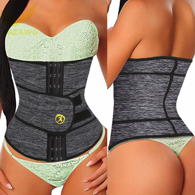 LAZAWG Women Waist Trainer Hot Thermo Sweat Neoprene Belt Waist Cincher Body Shaper Tummy Control Slimming Underwear Girdle 3