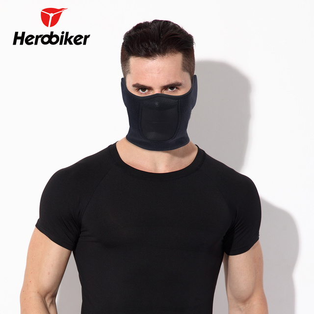 HEROBIKER Black Motorcycle Face Mask Moto Autumn Winter Skiing Snowboard Mask Cold-proof Thermal Fleece Cycling Half Face Mask 4