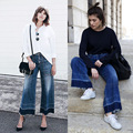 2016 улица оснастку Мода стиральные джинсы женщины осень 2016 широкую ногу брюки шлифования свободные эластичный пояс длинные брюки шаровары