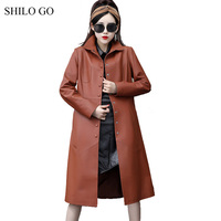 SHILO GO Leather Trench Womens Spring Fashion sheepskin genuine long coat lapel collar office lady single breasted causal coat