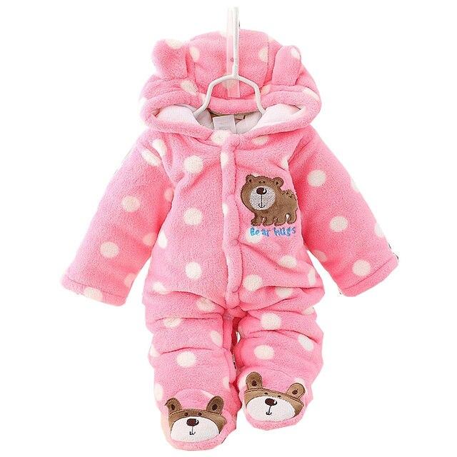 a6f16d5b6 Winter Dot Polka Cute Bear Coral Fleece Infants Kids Baby Hooded ...