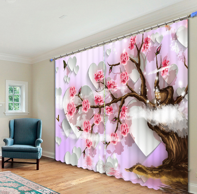 Chinese style pink flower tree Curtains 3D Photo Printing Blackout ...