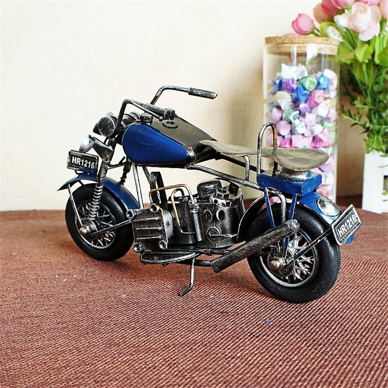 Vintage Retro Metal Motorcycle Model Props Metal Motor Home Decoration Accessories Figurines Furnishing Miniatures Handicraft