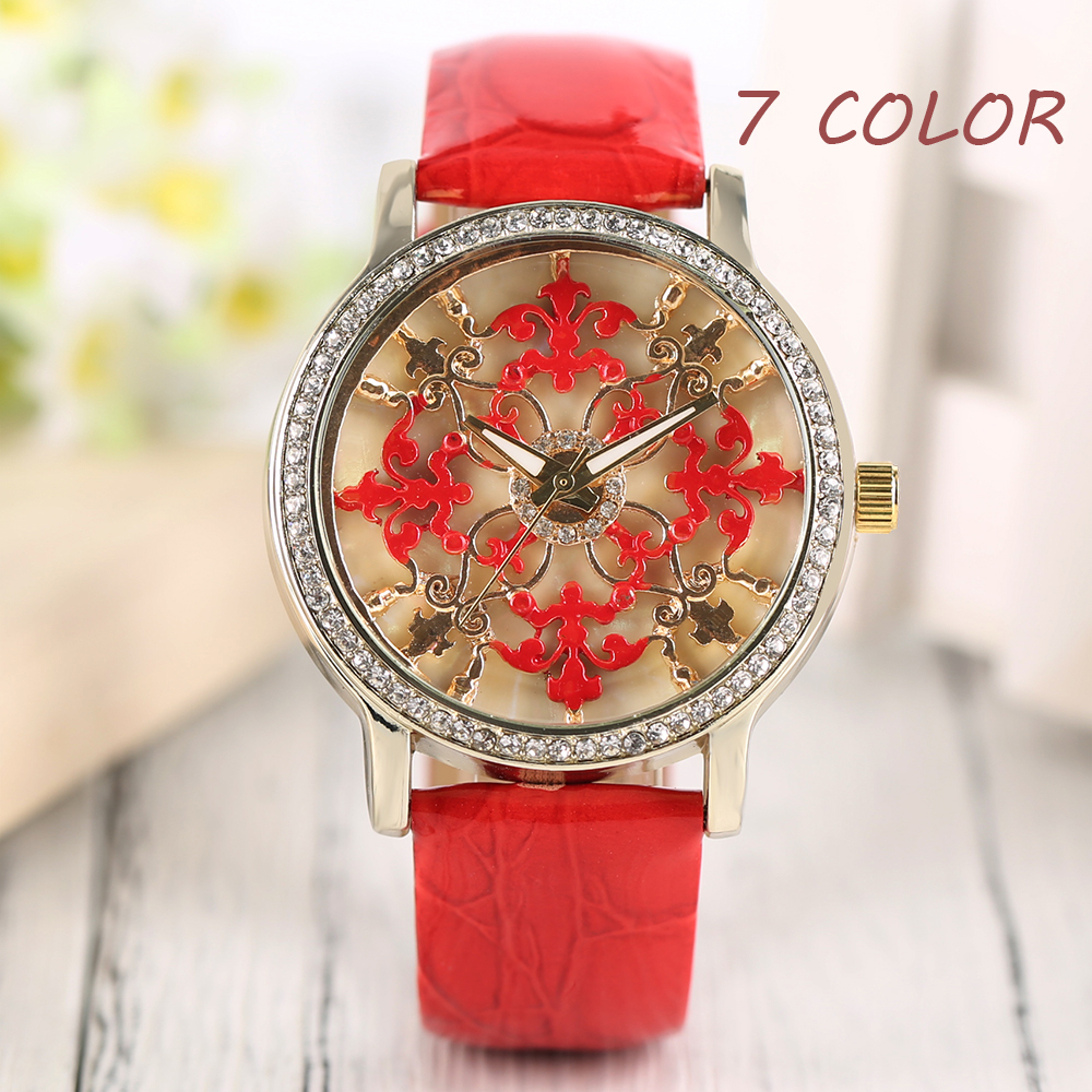 Elegant Retro Pattern Ladies Watches Red Pink Flower Dial Simple Style Blue Rose PU Leather Band Strap Quartz Wrist Watch Women new style pu leather flower pattern