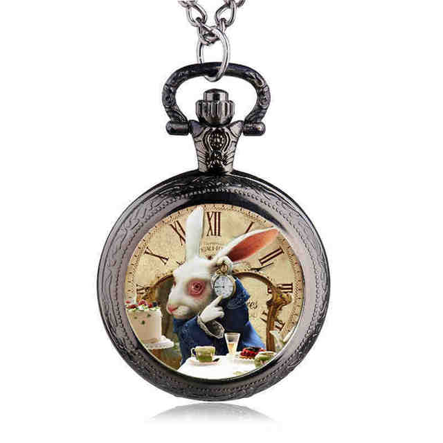 Fashion Design Movie Alice in Wonderland Rabbit Pocket Watch Women Children Pend