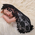 Newborn Baby Floral Lace Blanket Wrap Cloth Photography Props Solid Color Receiving Towel Blankets