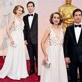 2016 Sexy-Line See Through V-образным Вырезом Hand Made Цветы 87-й Оскар Red Carpet платье горячие продажа женщины формальные Платья Знаменитостей