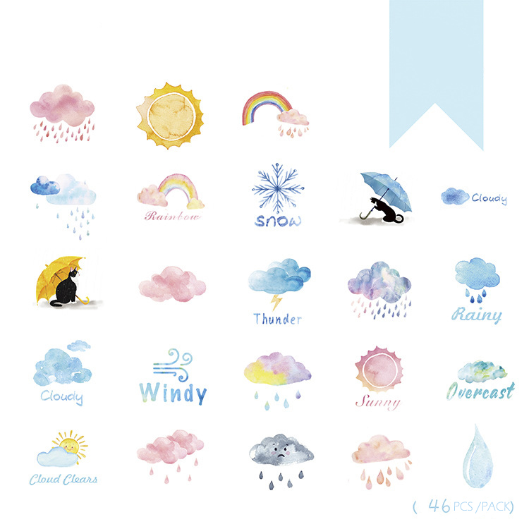 46PCS/PACK Kawaii Cute Weather Rainbow Sticker Marker Planner Diary Stickers Scrapbooking School Supplies Bullet Journal SL1286