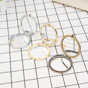 1Pc Portable MIni Makeup Mirror Solid Color Metal Round Case Double-Side Compact Pocket Mirror Beauty Accessories Female Gifts