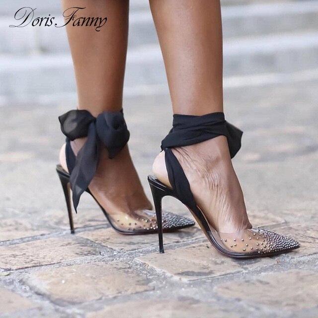 Doris Fanny Marka strappy sandalet Şeffaf PVC Kristaller topuklu şeffaf Kadın Sandalet Yaz ayakkabı