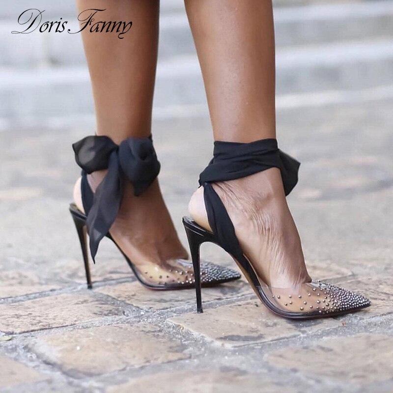 DorisFanny יוקרה מותג רצועות סנדלי ברור PVC גבישי עקבים שקוף נשים סנדלי קיץ נעליים